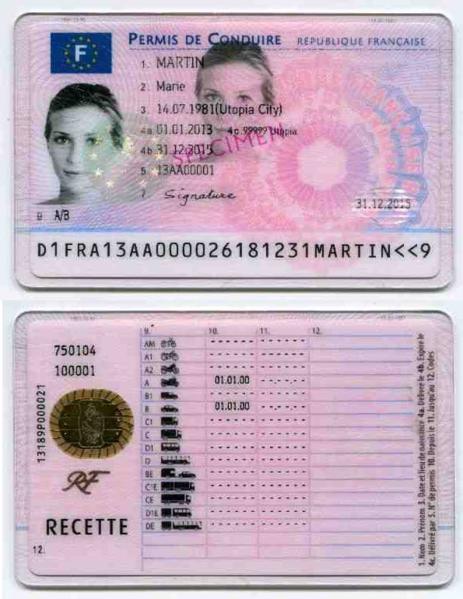 Photo de permis de conduire recto verso
