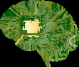 image virtuelle d'un cerveau recouvert d'une carte mémoire