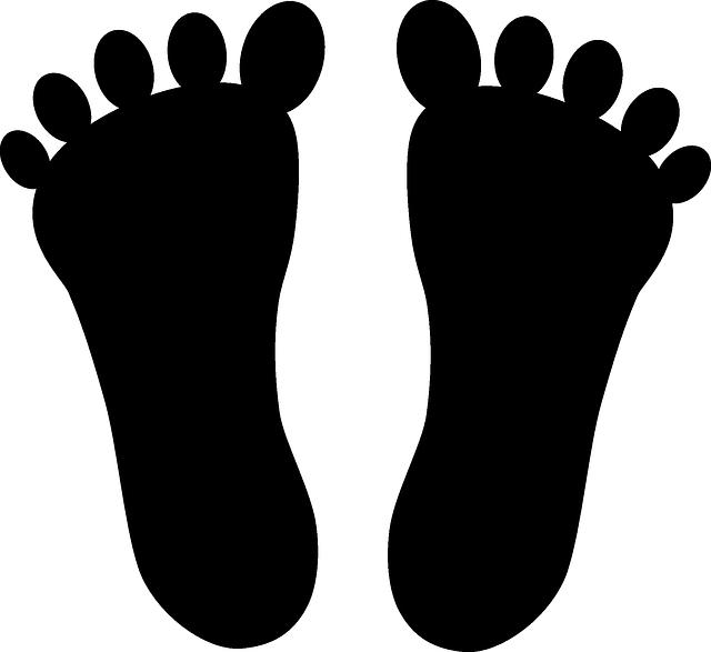 image vectorielle de deux empreintes de pieds