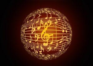 globe terrestre couvert de notes de musique