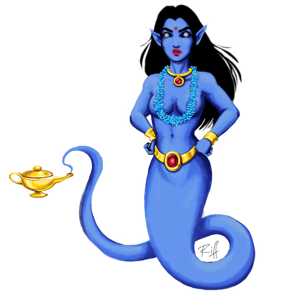 dessin d'un djinn féminin bleu
