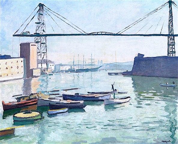 Tableau de Marquet : le pont transbordeur de Marseille, 1918