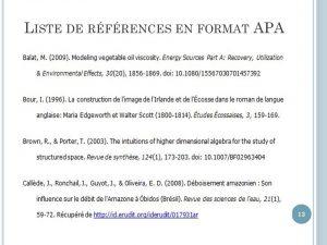liste de références en format APA