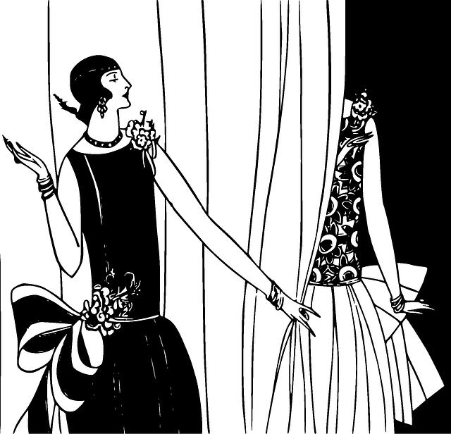 silhouettes en noir et blanc en robes années 30
