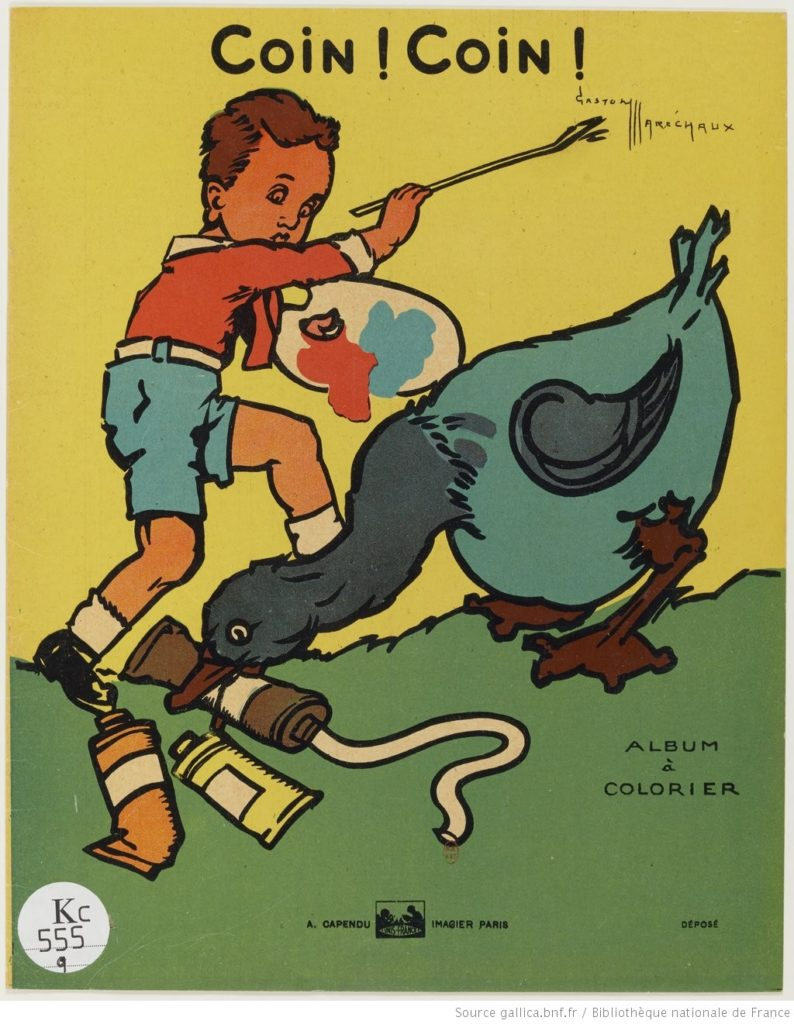 Album à colorier coincoin. Un enfant joue avec un canard qui pince dans son bec des tubes de gouache.