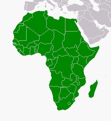 Carte de l'Afrique en vert.