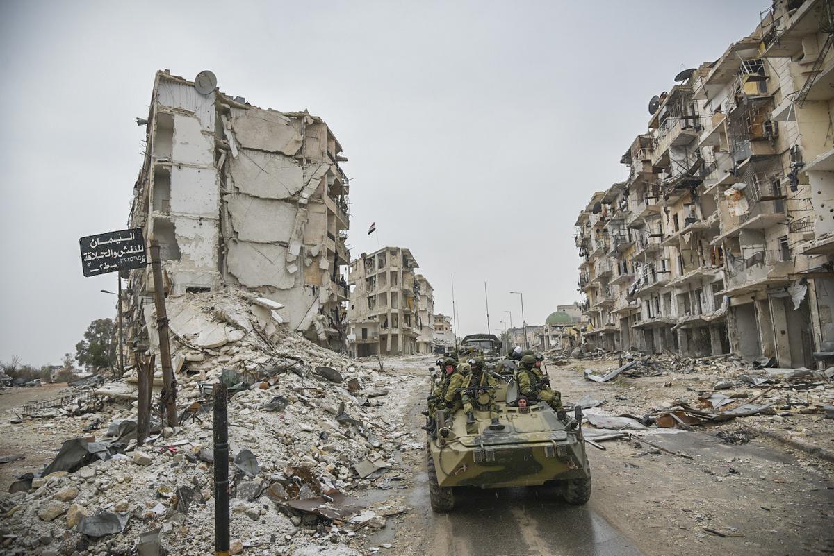 Rue et immeubles en ruines Syrie