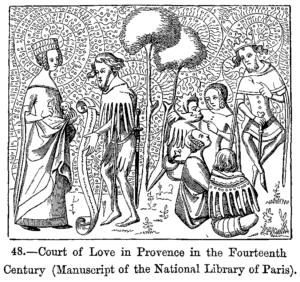 Cour d'amour en Provence, Manuscrit du xive siècle, Bibliothèque nationale de Paris.