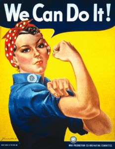 Poster we can do it, femme qui montre ses muscles