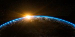 Lever du soleil (vue de l'espace)