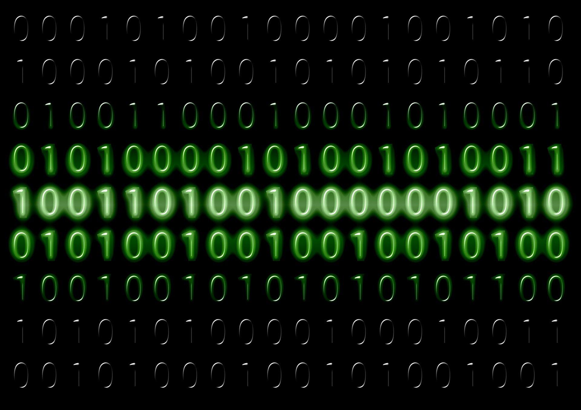 code binaire, suite de 0 et 1