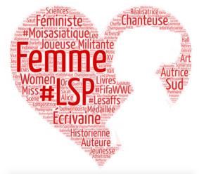 Cœur contenant une silhouette de femme. Réalisé avec des mots-clés tirés de la liste des articles récents et améliorés en 2019 par le projet Les sans pagEs.