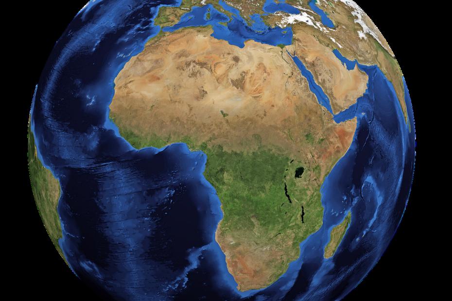 Continent africain sur le globe terrestre