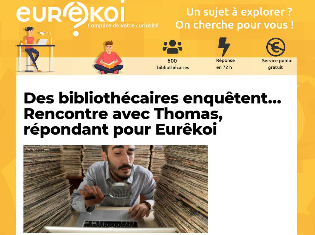 Copie d'écran de l'article-interview de Thomas, répondant Eurêkoi par  le magazine Neon.