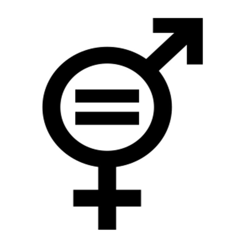 """Symbole signifiant """"égalité des sexes"""" qui fusionne deux autres symboles : celui de la femme et celui de l'homme"""