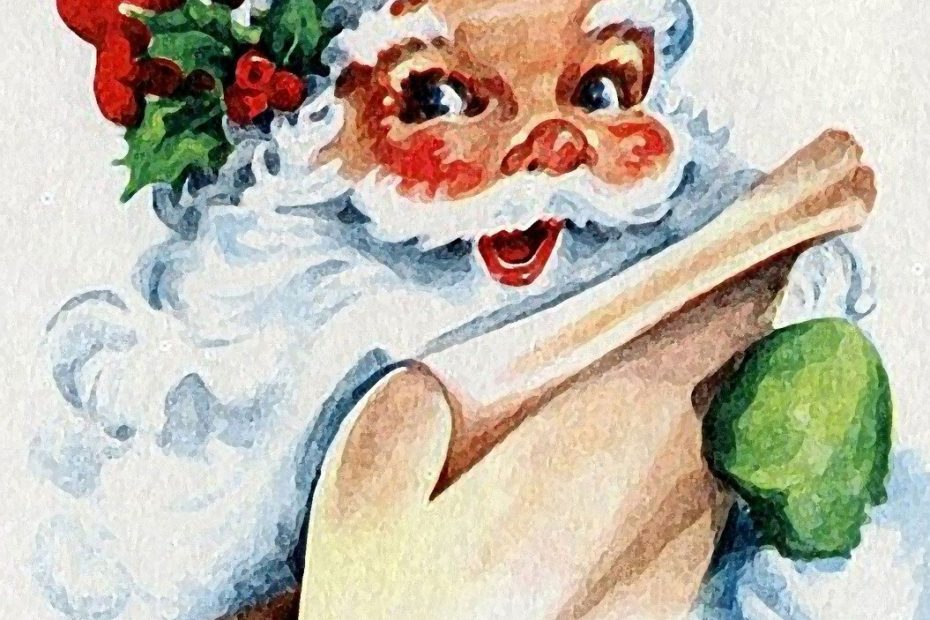 Figure du Père Noël tenant un long papier, certainement la liste de cadeaux des enfants