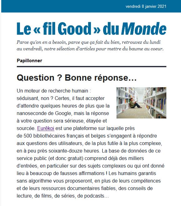 Extrait de la newsletter FilGood du 08-01-2021 du journal Le Monde