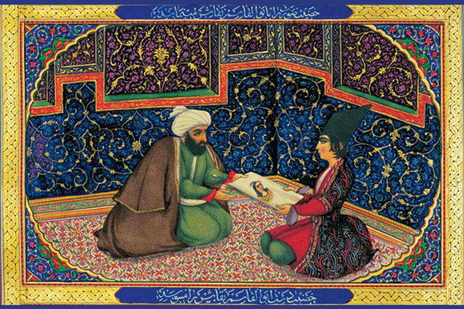 Image dessinée par Sani ol-Molk du sultan assis face à un autre personnage, l'un passant à l'autre une feuille sur laquelle est représentée une femme