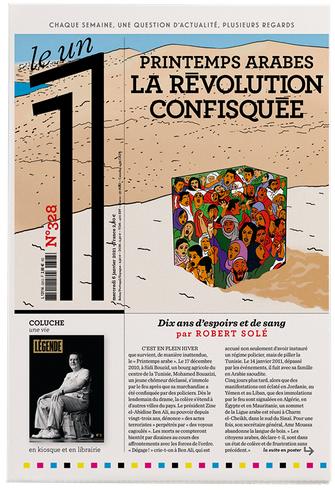 """1ere page de couverture du journal le 1, N° 328 06 Janvier 2021. Numéro intitulé : """"Printemps arabes : révolution confisquée"""""""