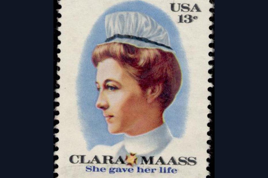 Timbre a l'effigie de Clara Mass infirmière américaine