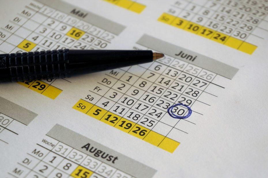 calendrier avec une date entourée