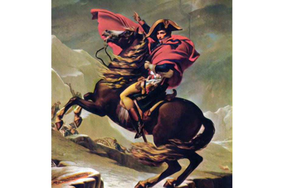 Peinture de Napoléon au Col du grand Saint Bernard