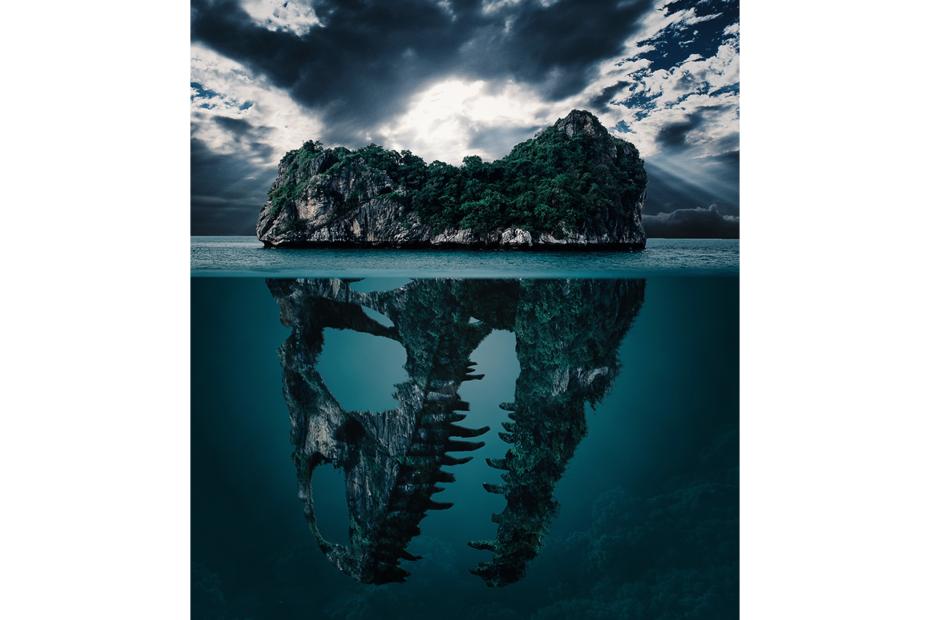 île façon iceberg, en dessous crâne d'un dinosaure
