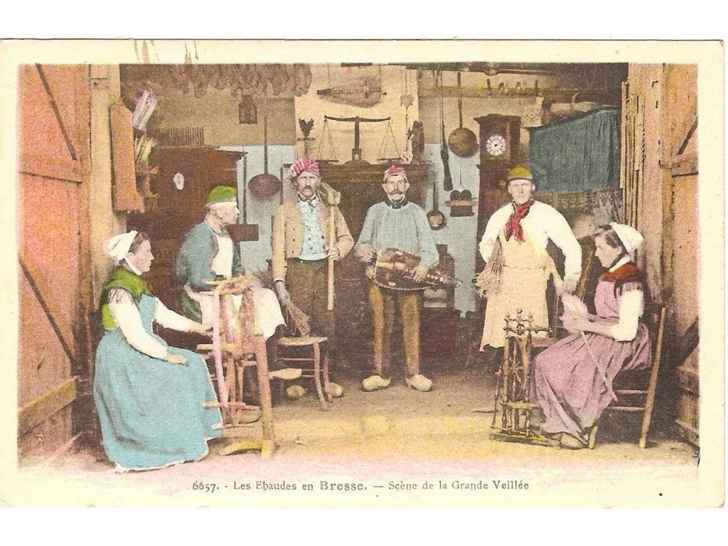 Carte postale ancienne : Les ébaudes en Bresse : la grande veillée - Carte de 1924, déposée par : mahelblonde